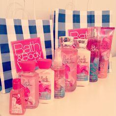 Pink Chiffon Bath & Body Works-- travel size lotion, perfume and sanitizer.