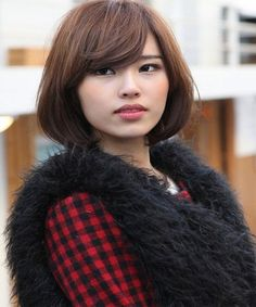 Asian bob hairstyle with side bangs 2016