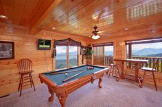 Mountain Pause Retreat - 8 bedrooms with bed sizes of 4 King, 4 Queen, 2 Queen Sleeper-sofas. #pooltable #hometheater #fireplace #airhockey #foosball