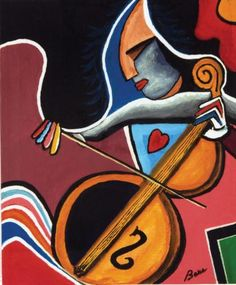 This Frank Bare painting, called The Cello Player, is part of the Muscular Dystrophy Association art collection in Tucson, Ariz. It is often mis-identified as a Picasso.