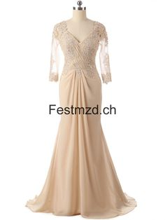 Champagner V-Ausschnitt Chiffon Abendkleider