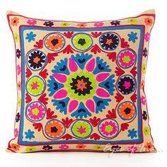 EYES OF INDIA  16 BROWN EMBROIDERED DECORATIVE SOFA CUSHION PILLOW COVER Indian Bohemian Decor