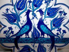 """Vintage Iznik Turkish Pottery TILE PEACOCKS SAZ LEAVES Flower Heads BLUE 6.75""""  #MadeInTurkey"""
