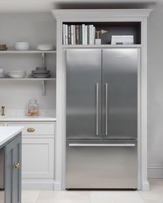 Fisher & Paykel fridge freezer housed in Nickleby cabinetry with storage space above for cookbooks. Fisher & Paykel fridge freezer housed in Nickleby cabinetry with storage space above for cookbooks. Kitchen Living, New Kitchen, Updated Kitchen, Kitchen Island, Kitchen Ideas, Kitchen Yellow, Awesome Kitchen, Rustic Kitchen, Fridge Storage