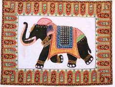 Jaipur Elephant Silk Painting,Wall Tapestry, Wall Hanging by the Old Silk Route Block Print Saree, Cotton Curtains, Silk Art, Elephant Art, Happy Colors, Silk Painting, Tapestry Wall Hanging, Old Things, Hand Painted