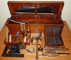 Carpenter's Toolbox. 1910-1935. Handcrafted professional carpenter's toolbox, with well cared for tools, it sold for $800 at auction.