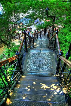 Ornate Stair Landings - Location Unknown/Photographer Unknown Reminds me of running up and down stairs, by my house