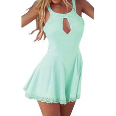 Blue Lace Round Neck Cut Out Womens Romper (995 RUB) ❤ liked on Polyvore featuring jumpsuits, rompers, pinkqueen, blue, playsuit romper, blue rompers, green rompers, lace rompers and green romper