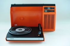 Serviced 70s Mint Vtg Rare Orange Philips 270 Portable Record Player Turntable