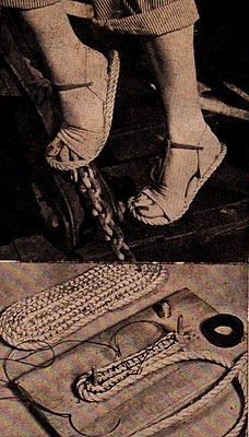Design Technologies Environmental Art and Design: DIY 1953 Styles: Popular Science's How to Make Spanish Rope Sandals Diy Leather Sandals, Rope Sandals, Crochet Shoes, Crochet Slippers, Homemade Shoes, Shoe Pattern, How To Make Shoes, Sock Shoes, Leather Craft