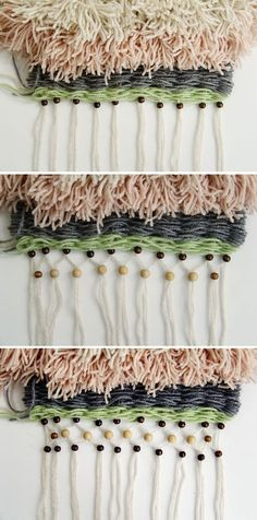 Fall For DIY Woven Wall Hanging : tassels and beads included in a weaving on a peg loom