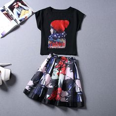 Summer New Cotton T-shirt Girl Dress Slim Temperament Printing A Two-piece Dress on Luulla