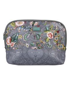 This Gray French Flowers Large Curved Cosmetic Bag & Pocket Mirror is perfect! #zulilyfinds