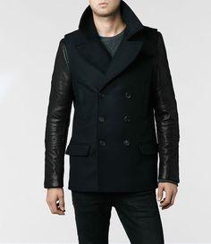 Mixed Texture Men's Pea Coat #mens #fashion #leather