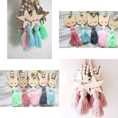 Wooden Beads Tassel Pendant Wall Hanging Ornament Cute Star Shape Nordic Style