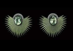 Established in London, Lauren Adriana creates a limited output of unique jewels. Unique Earrings, Gemstone Earrings, Shades Of Green, Palm, Gemstones, London, Jewellery, Accessories, Dress