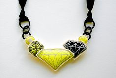 Screen printed and stuffed fabric gem necklace Bib by HITOKOO, $75.00