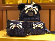 New Navy and Rose Gold Loungefly Disney Cruise Line Merchandise Collection Is A Show Stopper Cute Disney, Disney Style, Disney Dream, Disney Magic, Disney Cruise Line, Cute Backpacks, Clear Backpacks, Disney Handbags, Sequin Backpack