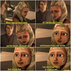 Ahsoka thx Anakin for his trainings on her. Theme Star Wars, Star Wars Film, Star Wars Baby, Star Wars Rebels, Star Wars Clone Wars, Anakin Vader, Anakin Skywalker, Star Wars Jokes, Star Wars Facts