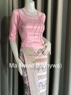 Myanmar Traditional Dress, Traditional Dresses, Blouse Patterns, Blouse Designs, Skirt Fashion, Fashion Dresses, Classy Fall Outfits, Myanmar Dress Design, Short Long Dresses