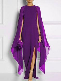 Long-Sleeved Cape Open Sleeve High Slit Plain Chiffon Maxi Dress