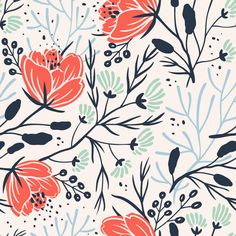 Anna Aniskina, floral, colour, painting, design, repeat, pattern, fabric, illustration, drawing