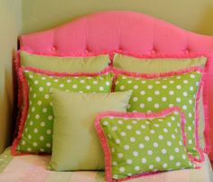 The Carolina Pillow Pink and Green with White by CushPillowDesign, $6.99