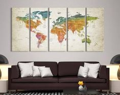 This item is unavailable Large World Map Poster, World Map Canvas, World Map Wall Art, Canvas Art Prints, Canvas Wall Art, Push Pin World Map, Water Color World Map, Watercolor Map, Thing 1