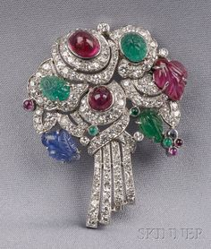 Art Deco Platinum, Diamond, and Gem-set Brooch, Mauboussin, | Sale Number 2496, Lot Number 663 | Skinner Auctioneers