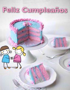 Feliz cumpleaños, pastel rosa y azul