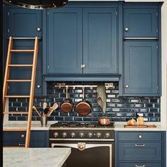 Favorite aesthetics, plus design tips & tricks for making the most out of a small kitchen. Kitchen Shop, New Kitchen, Kitchen Interior, Kitchen Dining, Kitchen Decor, Kitchen Ideas, Blue Kitchen Designs, Rustic Kitchen Design, Kitchen Cabinet Design