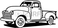 New Vintage Truck Silhouette Vinyl Decals Ideas Chevy Pickup Trucks, Classic Chevy Trucks, Old Chevy Pickups, Hot Wheels, Truck Coloring Pages, Coloring Book, Truck Paint, Silhouette Vinyl, Vintage Trucks