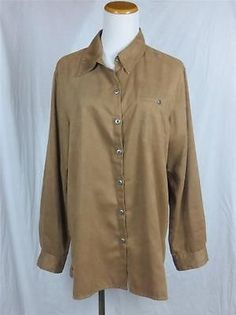 Chicos Design Womens Faux Suede Milk Chocolate Brown Polyester Sz 2 12 14 Large | eBay $21.95