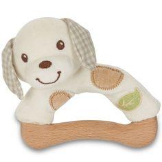 Le hochet chien peluche et bois de la marque Everearth assurera à votre enfant une bonne prise en main grâce à l'anneau en bois.