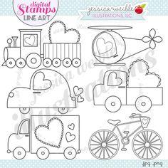 Sweet Transport Stamps - JW Illustrations - cute valentine trucks, trains and cars - digital stamps