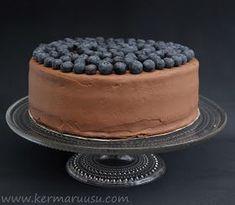 Kermaruusu: Suklaa-mustikkakakku (gluteeniton) Something Sweet, Desert Recipes, Tiramisu, Cheesecake, Deserts, Food And Drink, Gluten Free, Sweets, Chocolate