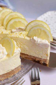 No-Bake Lemon Cheesecake - Back to Basics - Jane's Patisserie - Lemon Cheescake Cheesecake Recipe Uk, Basic Cheesecake, No Bake Cheesecake Filling, No Bake Vanilla Cheesecake, Cheesecake Cupcakes, Blueberry Cheesecake, Lemon Recipes, Sweet Recipes, Lemon Desserts