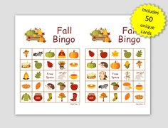 Fall Picture Bingo, 50 Cards, prints 2 per page, immediate pdf download, fall memory cards Halloween Bingo Cards, Custom Bingo Cards, Bingo Games, Memory Games, Fall Pictures, I Am Game, Paper Size, Card Making, Pdf