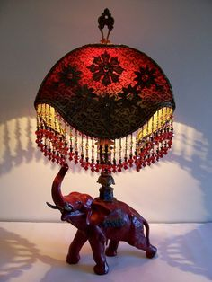 Red Elephant Hand-Beaded Table Lamp