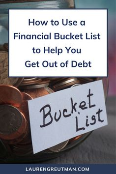 I learned how to be resourceful and prioritize the things that I want in life, so I created a financial bucket list to help keep my accountable. It was something that I can turn to over the years, and see how far we've come! When we were in so much debt, this is an example of what my financial bucket list looked like: Pay off debt. Do online surveys to earn extra cash for groceries. Have a garage sale. Read my new bucket list and how it can help you plan your future. Financial Tips, Financial Literacy, Financial Planning, Budgeting Worksheets, Budgeting Tips, All About Me Book, Household Budget, Money Saving Tips, Money Tips