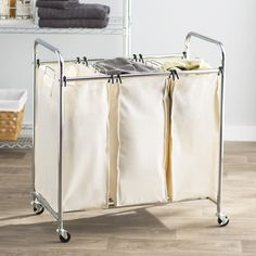 Found it at Wayfair - Wayfair Basics 3 Bag Laundry-Sorting Cart Wicker Laundry Hamper, Laundry Baskets, Laundry Cart, Laundry Sorting, Laundry Center, Folding Laundry, Metal Hangers, Laundry Room Organization, Routine