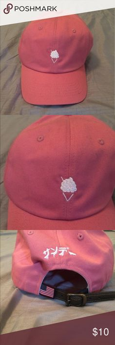 Pink Baseball Cap Pink baseball cap with a cute pic of ice cream on it! Worn only once or twice. Accessories Hats