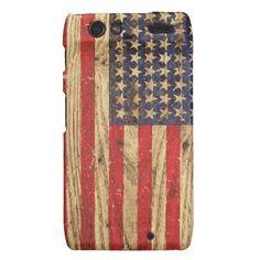 Vintage Patriotic American Flag on Old Wood Grain Motorola Droid RAZR Cases