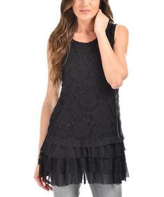 Another great find on #zulily! Cicero Black Lace Ruffle Tunic by Cicero #zulilyfinds