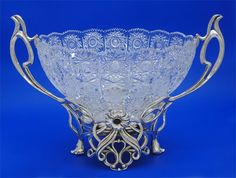 Silver Art -  Russian Silver and crystal - center piece Bowl with 2 onix stones...$15,000.00