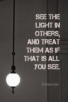 See the light in others and treat them as if that is all you see. ~ Wayne Dyer