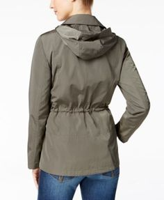 Charter Club Petite Water-Resistant Hooded Utility Jacket, Only at Macy's - Tan/Beige P/S