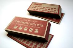 Porchlight Press - A Vancouver letterpress printing and design studio Coffee Club, Coffee Shop, Loyalty Cards, Coffee Cards, Food Waste, Business Cards, Punch, Campaign, Branding