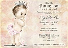 Vintage Baby Shower Invitation For Girl Princess por jjMcBean