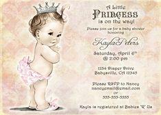 Vintage Baby Shower Invitation For Girl Princess por jjMcBean